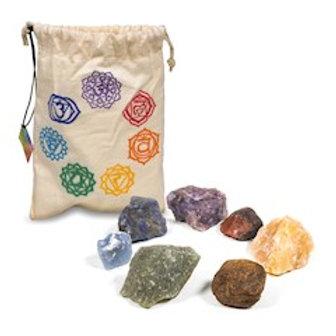 Set de 7 pierres des chakra dans un sac en coton