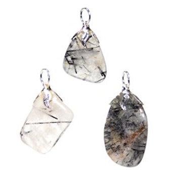 Pendentif pierre gemme Tourmaline quartz