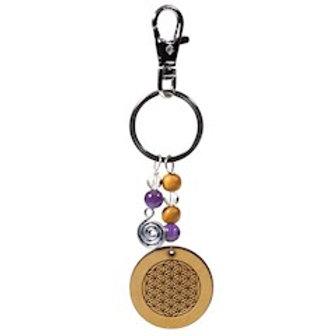 Porte clefs en bois fleur de vie -- 13 cm