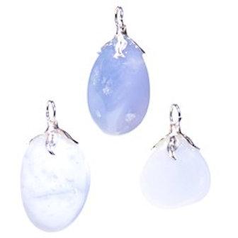 Pendentif pierre gemme Calcedoine