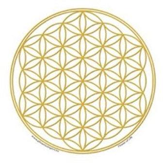 Adhésif verre/fenêtre Fleur de vie or -- 10.5 cm