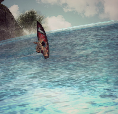 """Kris Marley Surfing the """"Sally"""" by Maoli"""