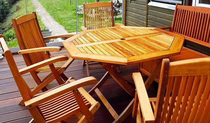 Wood patio furniture freshly oiled.jpg