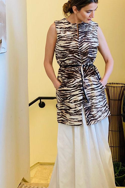 Belted Cowhide Vest in Zebra Pattern