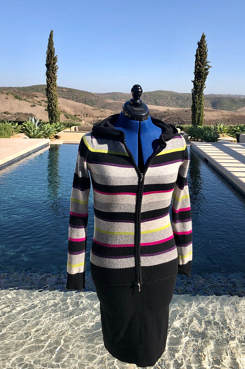 Striped Multi-Color Zip-up+Hood Dress