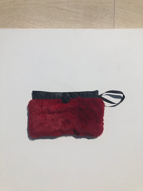 Burgundy Fur Clutch/Leather Lining