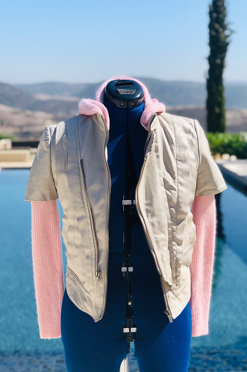 Light Grey Leather & Pink Cashmere