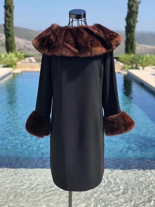 Black Slip Dress w/Mink Fur Cuffs & Detachable Collar