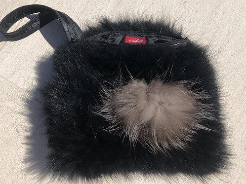 Black Fur Clutch w/Grey Fur Pompom Detail, Leather Strap