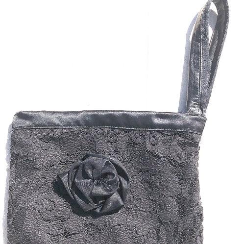 Black Crepe & Silk Clutch, Silk Rozette, Leather Wrist Handle