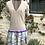 Thumbnail: Light Summer Cashmere Dress in Beige & Floral Pattern, Puffed Sleeve/Purple Trim