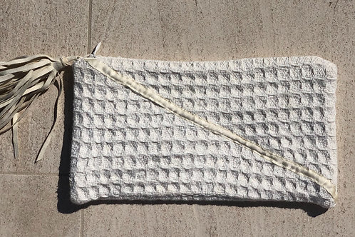 Ivory Clutch with Tassel Detail, Silk Lined