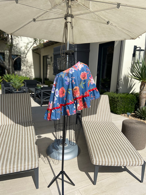 Off the Shoulder Summer Top w/Red Satin Ribbon Trim