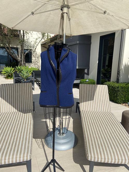 Navy Blue Vest w/Black Leather Detail