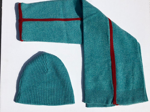 Double Layer Cashmere Scarf / Teal+Rust Trim
