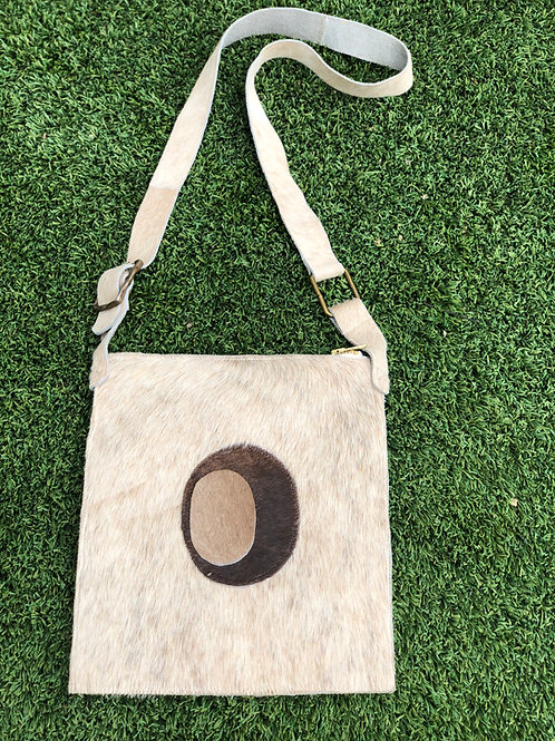 Cowhide Cross-Body Bag in Ivory w/Abstract Detail