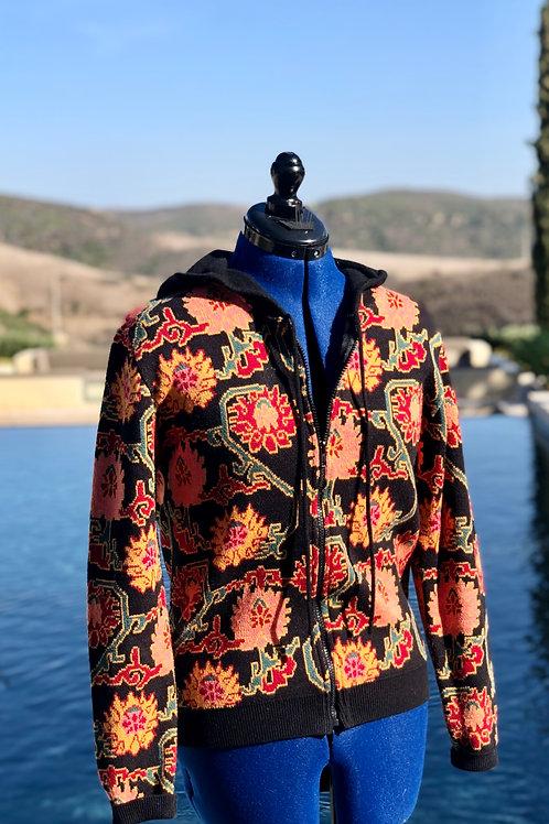 Fall Floral Print Black Hood+Trim Zip-up