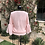 Thumbnail: Pale Pink Cashmere Top, Bell Silk Sleeves