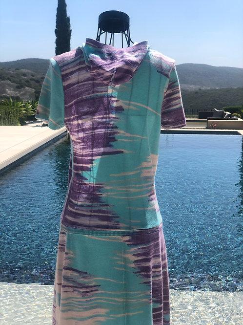 Abstract Design Cashmere Dress in Aqua & Lavender