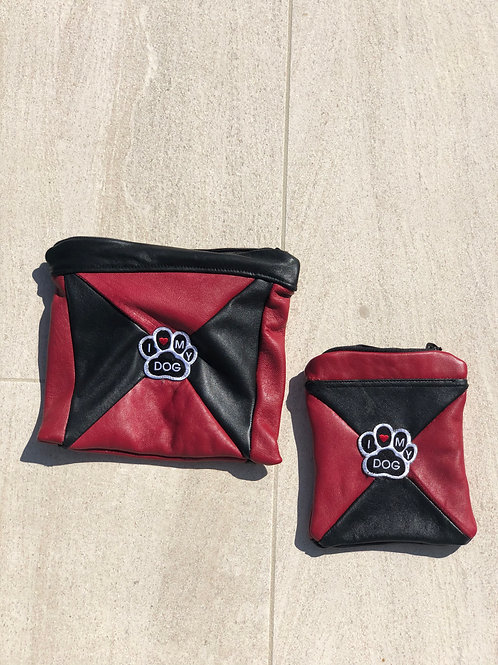"""Black & Red Leather """"I LOVE MY DOG"""" Pouch Set"""