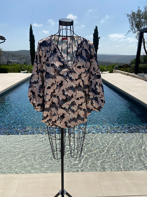 Silk Butterfly Blouse, in Pinks & Greys