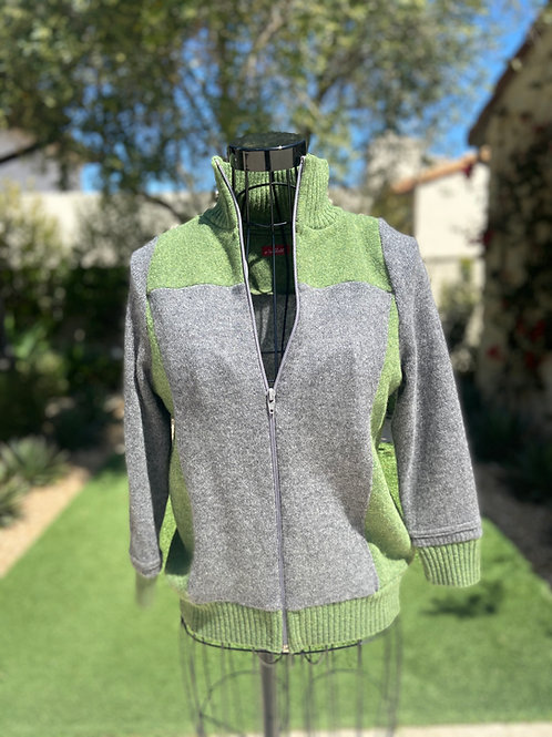 Cashmere Zip-up Sweater in Heather Grey & Pale Green