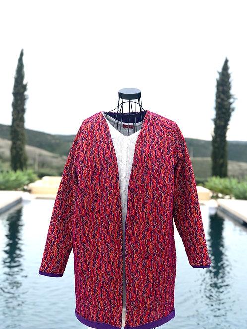 Vibrant Pink+Purple Coat w/Detachable Hood