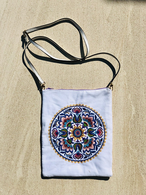 Floral Mandala Embroidery Cross Body Bag