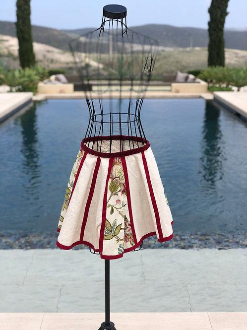 Summer Linen Skirt w/Burgundy Detail
