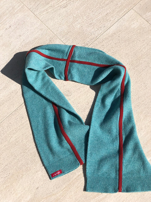 Cashmere Scarf in Teal w/Coral Detail