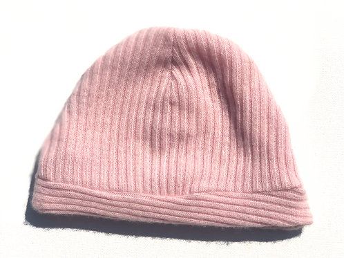 Powder Pink Beanie / Ribbed Cashmere