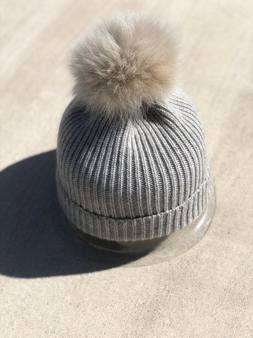 Heather Grey Cashmere Detail w/Fur PomPom