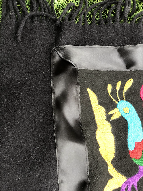 Black Cashmere Wrap w/Authentic Otomi Embroidery, Satin Ribbon Detail, Fringed