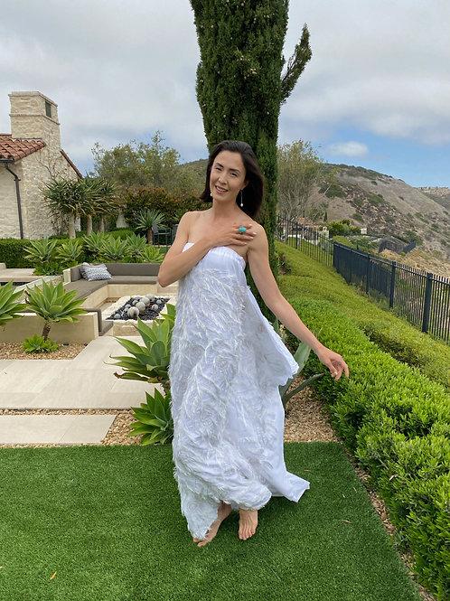 Romantic summer cotton dress w/Peacock feather Motif