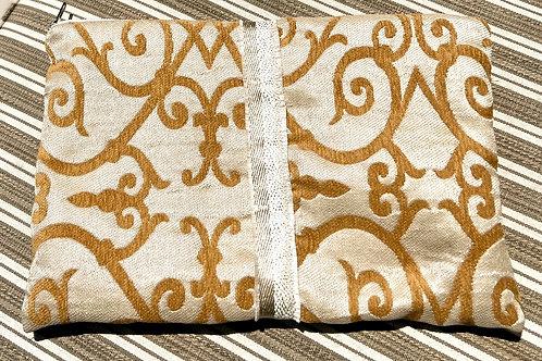 Oversized Travel Pouch w/Golden Ribbon Detail