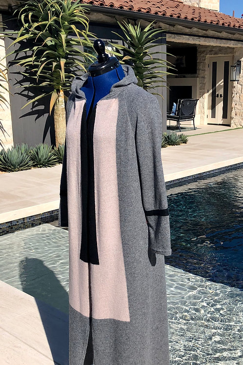 Color Block Hooded Duster