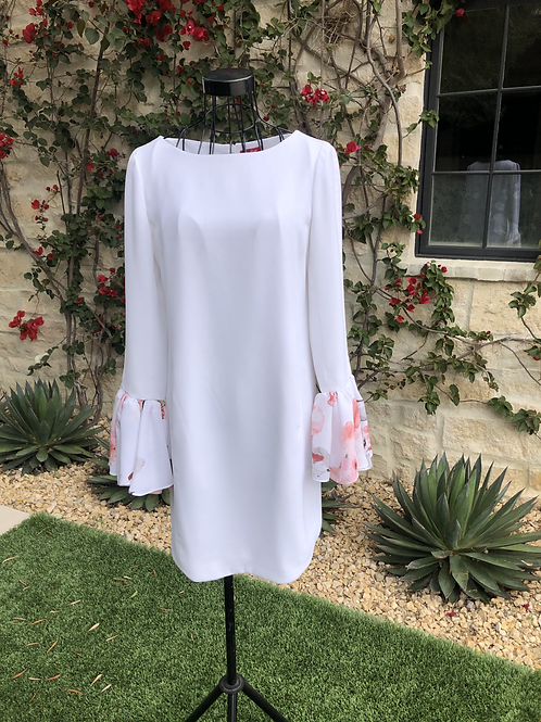 White Georgette Dress w/Floral Bell Sleeves
