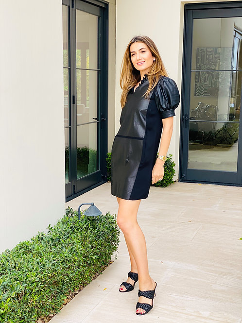 Black Leather and Silk Dress w/Ruffle Detail