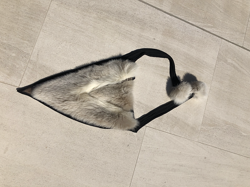 Triangle Collar/Scarf with White Fur Detail & Pompoms