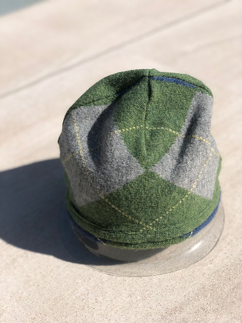 Green & Grey Argyle Double Layer Cashmere Beanie
