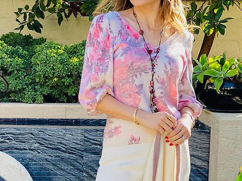 While & Pink Floral Sweater