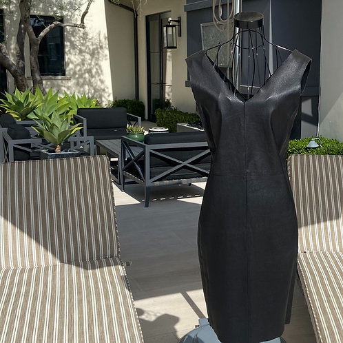 Lambskin Leather Dress, Deep V-neck in Front & Back