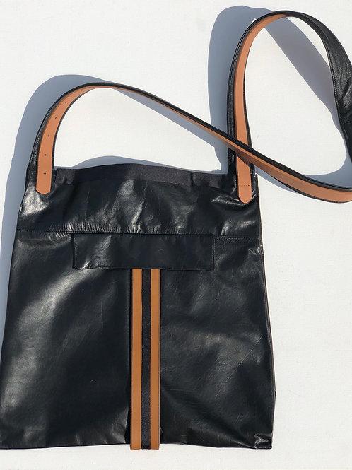 Black Leather+Striped Trim Cross Body Bag
