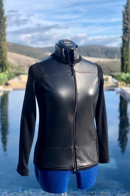 Cashmere & Black Leather Zip-up Sweater