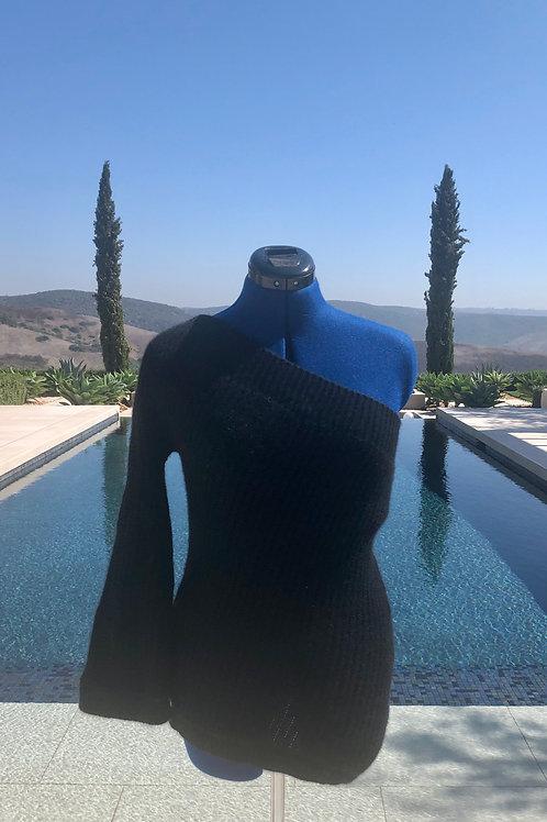 Off Shoulder / Ribbed Black Cashmere / Sexy Evening