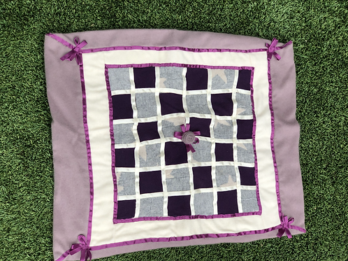 Cashmere Baby Quilt in Amethyst& Ivory, Purple Ribbon Trim & Rosette Detail