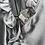 Thumbnail: Metallic Grey Silk Blouse, Ruffle Collar & Sleeve Trim