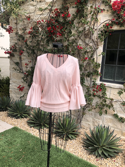 Pale Pink Cashmere Top, Bell Silk Sleeves
