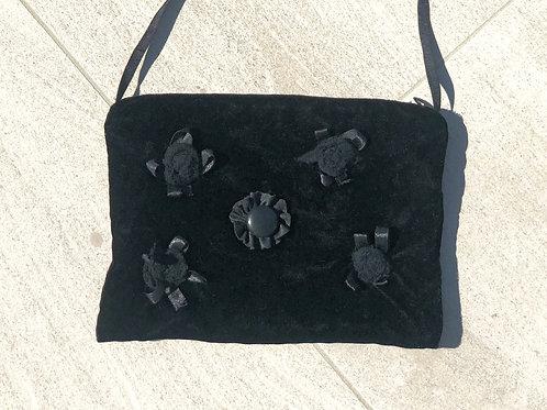 Black Velvet Evening Bag w/Ribbon Strap & Floral Leather Detail