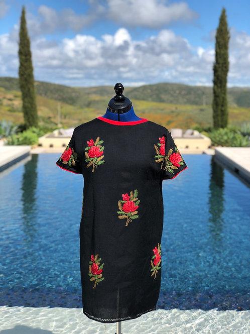 Rose Motif Cashmere+Silk Slip Dress